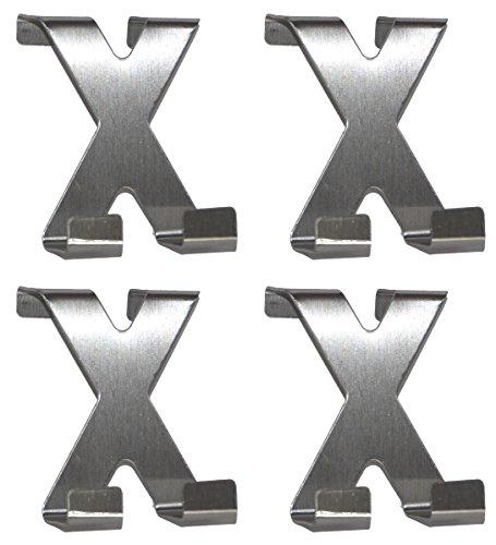 all-around24® 4 x Türhaken in X-Form Edelstahl Handtuchhaken - Garderobenhaken - Haken - Handtuchhalter - Kleiderhaken - Schrankhaken (4 Stück)