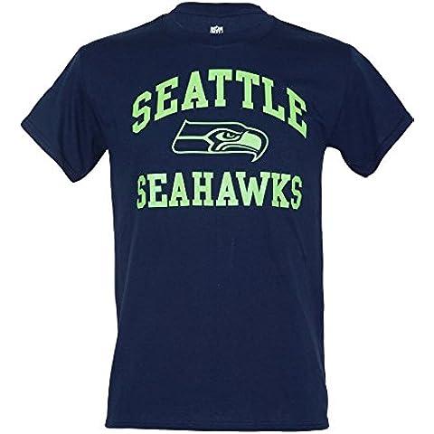 Seahawks Seattle American Football T-shirt Maglietta Tee Navy White, MSH2567NL Navy, L