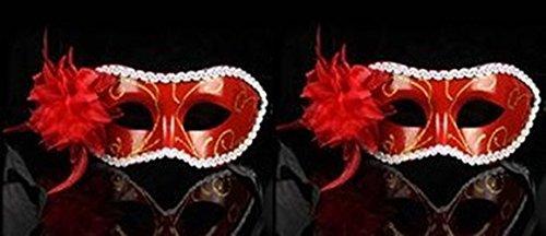 Preisvergleich Produktbild Partymaske No4, Clubmaske, Sexy Augenmaske, Fasching, Venezia, Farbe rot