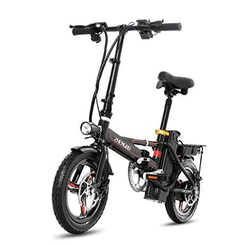 Bici elettriche Pieghevole Bicicletta Elettrica Ultra Batteria Auto Adulto Alluminio Batteria al Litio Auto Elettrica, Vita Elettrica 40-50 Km (Color : Black, Size : 123 * 60 * 98cm)
