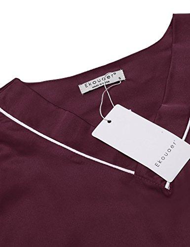 Ekouaer Damen Schlafanzug Kurzarm Lang Hose Pyjama Classics Nachthemd und Hose Set in europäischen Größen Weinrot