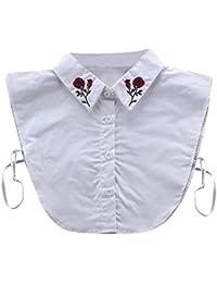 Frauen Damen Blusenkragen Kragen Weiß Frauen Kragen Abnehmbare Hälfte Shirt  Bluse mit Strass Weiß 156f15a108