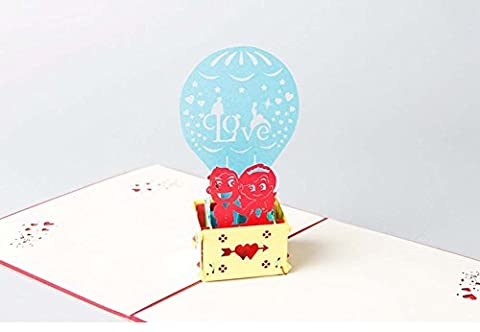 Made4u Carte de vœux pop-up kirigami 3D, loisirs créatifs - Collection Saint-Valentin et mariage. Balloon