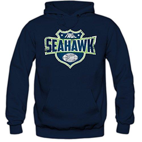Shirt Happenz I'm a Seahawk #8 Premiumhoodie Herren Super Bowl Play Offs Football Hoodies USA Kapuzenpullover, Farbe:Dunkelblau;Größe:S