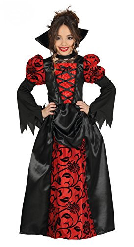 Royal Vampirin - Vampir Kostüm Mädchen inkl. Vampirkleid für Kinder mit Kragen - elegantes Halloween Kostüm Mädchen Vampir (140/146)