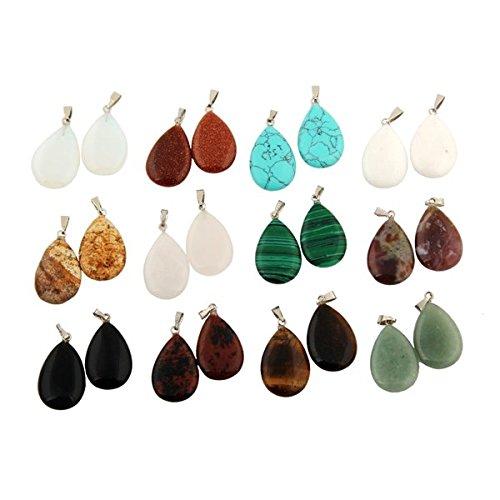 """Cmidy 20 pezzi, motivo: gocce d """"acqua di perline in cristallo per i Chakra, con pietra di quarzo Color Randow Collana con ciondoli, per realizzazione gioielli, 23mm*17mm"""