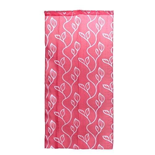 Vosarea Gardinen Transluzente Fensterscheiben mit Blättern Muster Voile Tüll Vorhänge Vorhänge Stangentasche für Wohnzimmer Küche (Rot) 100x270cm -