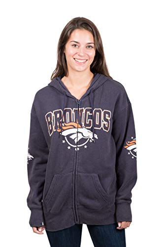 NFL Denver Broncos Herren Fleece-Kapuzenpullover, Banner-Jacke, Gr. XL, Marineblau (Broncos Jacke)