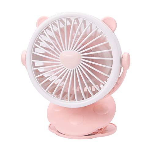 CAOQAO Mini Type De Clip Ventilateur USB Ventilateur, 3 Vitesses RéGlable RéGlable Ventilateur Portable Rechargeable,Vent à pour Maison, Bureau Et Le Voyage, La RandonnéE, Le Camping,Rose
