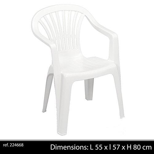 greemotion Stapelstuhl Altea weiß - Gartenstuhl stapelbar - Balkonstuhl aus Kunststoff - Stapelsessel mit Armlehne - Monoblock-Stuhl für Garten, Terrasse & Balkon