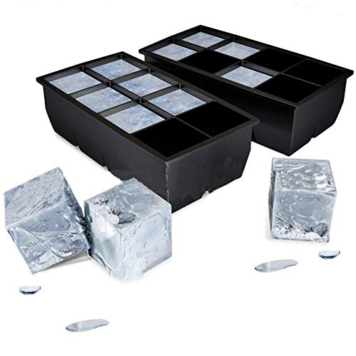 Dyyicun12 Eiswürfelform für 8 große Eiswürfel, groß, aus Silikon, quadratisch, Schwarz -