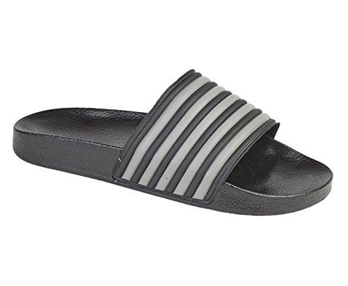 Drop Buddy , Herren Sandalen Black / Grey Stripes