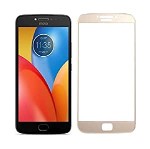Azzil Full Glass 2.5D Curved 9H Anti-Fingerprints & Oil Stains Coating Hardness Screen Protector Guard for Moto E4 Plus (GOLD)
