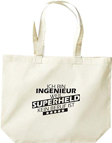 Shirtstown große Einkaufstasche, Ich bin Ingenieur, weil Superheld kein Beruf ist, natur