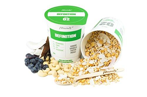 """Low-Carb Protein-Müsli Kokos-Vanille """"Definition"""", 12er Pack (12 x 90 g), (Diabetiker geeignet) vegan & ohne Zucker, fitmeals"""