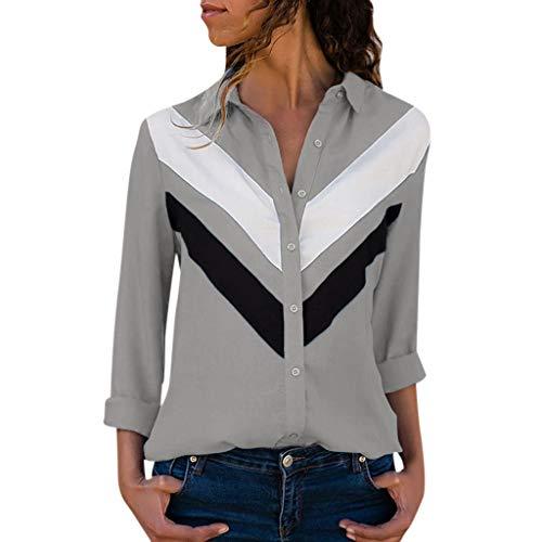 TAMALLU Frauen T-Shirts Stilvoll Ziemlich Patchwork Übergröße Lange Ärmel Shirts(Grau,2XL) (Koala Bär Kostüm Für Hunde)