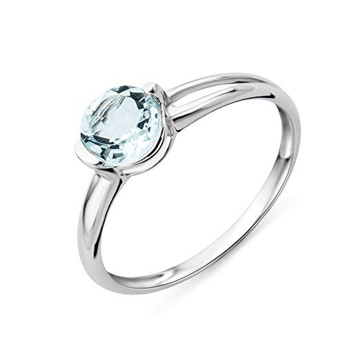 Miore, anello di fidanzamento, oro bianco e aquamarina, 9 carati (375), donna, l