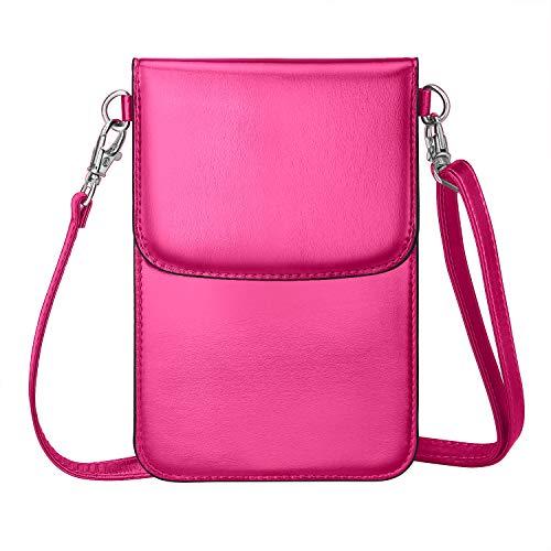 MoKo Handy Tasche Hülle, Handytasche Mehreren Taschen Geldbörse Kompatibel für iPhone 11 Pro/11/11 Pro Max/Xs Max/XR/Xs, Galaxy Note 10/Note 10 Plus/S10e/S10/S10+,Oneplus 7/7 Pro - Rose Rot -