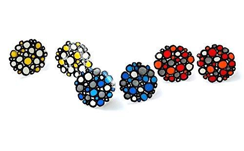 Handbemalte Schrumpf Kunststoff Ohrringe Gelbe Blasen