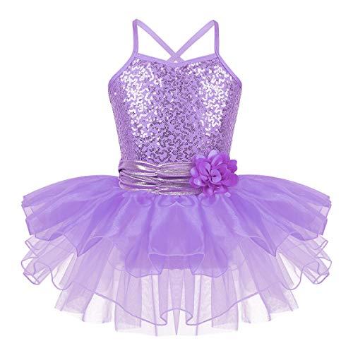 iEFiEL Mädchen Ballettkleid Pailletten Kleid Ballerinas Kostüm Ballett Trikot Ballettanzug mit Tütü Röckchen Tanzkleid Lavendel - Lavendel Kinder Kostüm
