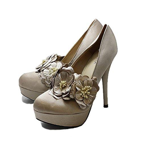 Champagne Satin chaussures à talons hauts Cour avec bracelet fleur amovible Champagne