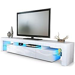 Meuble TV Bas Armoire Basse Lima V2, Corps en Blanc Mat/Façades en Blanc en Haute Brillance