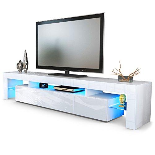 TV Board Lowboard Lima V2, Korpus in Weiß / Front in Weiß Hochglanz