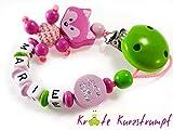 Schnullerkette mit Namen für Mädchen mit Fuchs und Motivperle 'Kleine Diva' – pink, rosa, grün