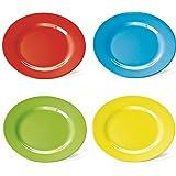 4 Kunststoff-Teller, flach, 23 cm, aus Melamin, 4 farbig sort. (rot, grün, blau, gelb)