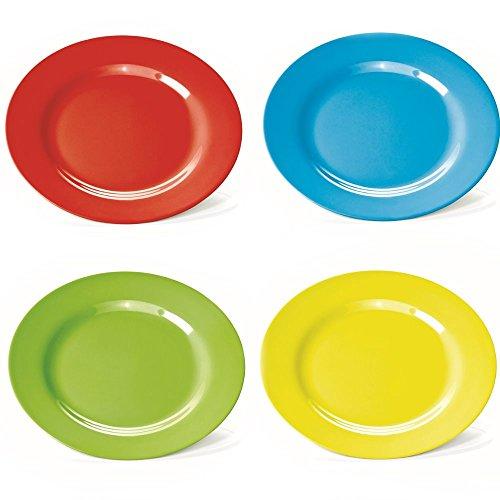 farbige teller 4 Kunststoff-Teller, flach, 23 cm, aus Melamin, 4 farbig sort. (rot, grün, blau, gelb)