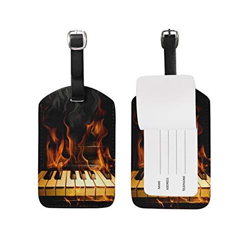 Gepäckanhänger Abstract Fire Music Note Mit Piano Travel Tag Name Kartenhalter Für Gepäck Koffer Tasche TAG-038