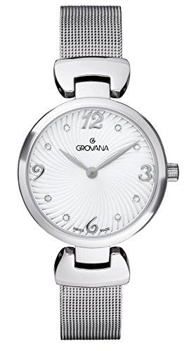 Grovana reloj infantil de cuarzo con para mujer plateado esfera analógica y plateado correa de acero inoxidable de 4485,1132