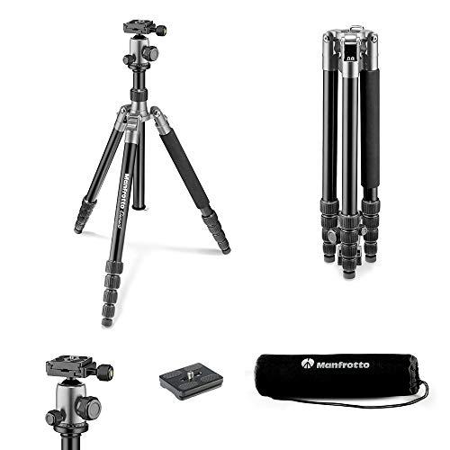 Manfrotto Element Traveller Aluminium Kit (groß, leichtes Reisestativ aus Aluminium mit Kugelkopf, verwandelbar in ein Einbeinstativ, inkl. Tragetasche und Spikes, geeignet für Arca Swiss) grau