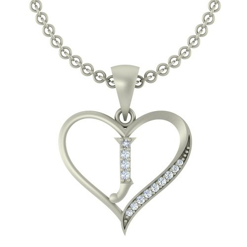 "Kanak Jewels Initial Letter ""J"" In Heart Shaped With Chain Silver Plated Cubic Zirconia Brass Pendant For Everyone"