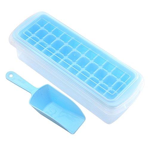 Eiswürfelform,Xfay Neues Design Deckel Eiswürfelbox mit Deckel aus Kunststoff,robuster Eiswürfelbehälter für früchte eiswürfel eismaschine 33 Würfelfächer-2