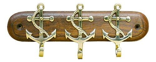 Schlüsselbrett mit 3 Ankerhaken aus Holz/Messing