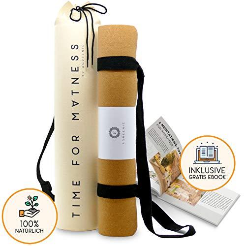 aGreenie® Premium Eco Yogamatte Tasche Set - Kork Naturkauschuk - 4mm - rutschfest - schadstoffrei - Sport Fitness Gymnastik Matte - inkl. Tragegurt und Ebook