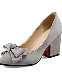 ZQ Zapatos de mujer - Tacón Cuña - Tacones / Punta Redonda - Oxfords - Casual - Semicuero - Azul / Morado / Blanco / Beige , almond-us8.5 / eu39 / uk6.5 / cn40 , almond-us8.5 / eu39 / uk6.5 / cn40