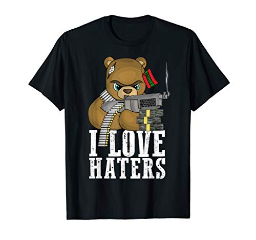 I Love Haters Teddybär Hektik Hip Hop Liebhaber T-Shirt -