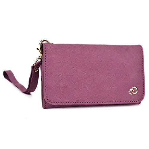 Kroo Pochette en cuir véritable pour téléphone portable pour Posh Orion Max violet violet