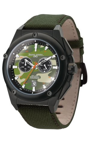 Jorg Gray Men's Watch JG8800-21 The Covert Collection Chronograph Green Canvas Strap