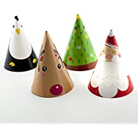 On The Wall Christmas Party Hats - Santa, Rudolph, Happy Christmas Tree and Party Penguin (Pack 4)