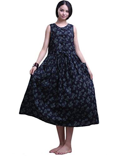 MatchLife Femme V-Cou Sans Manche Robe Bleu et Blanc Floral