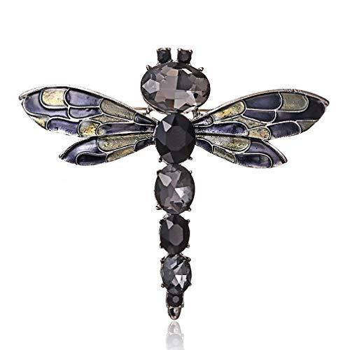 LIXIAQ1 Kristall Libelle Brosche Pins Schmuck Hochzeit Geschenk Kleidung Kleid Schal Dekoration, Schwarz