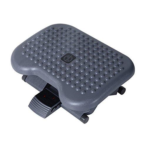 Homcom poggiapiedi standard da ufficio altezza e inclinazione regolabile, 46x35x11-17cm