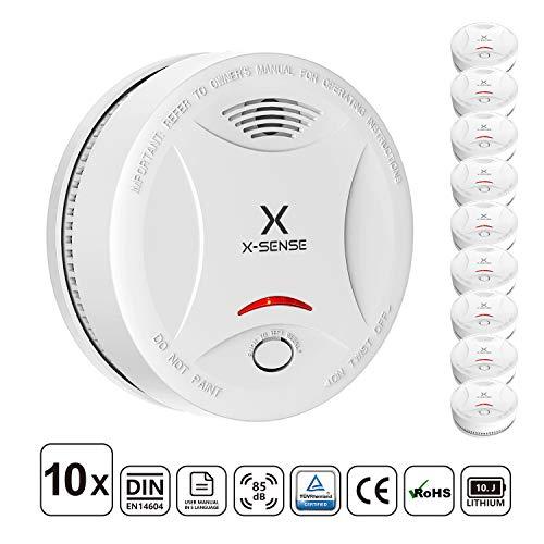 X-Sense Rauchmelder mit 10 Jahren Batterielaufzeit, TÜV und DIN EN 14604 geprüfter Rauchwarnmelder mit intelligentem Feueralarm, fotoelektrischem Sensor   Verbesserte Ausführung, 10 Stück