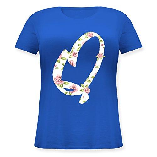Anfangsbuchstaben - Q Rosen - Lockeres Damen-Shirt in großen Größen mit Rundhalsausschnitt Blau