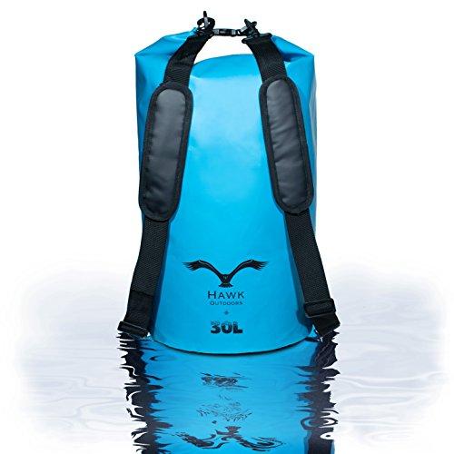 HAWK Outdoors Dry Bag - wasserdichter Packsack mit gepolsterten Schulter-Gurten - 30L - Stausack Seesack Beutel Dry Bag - Wasserfester Rucksack - Kanu-Fahren, Rafting, Angeln, Segeln, Kajak-Fahren, Snowboarden