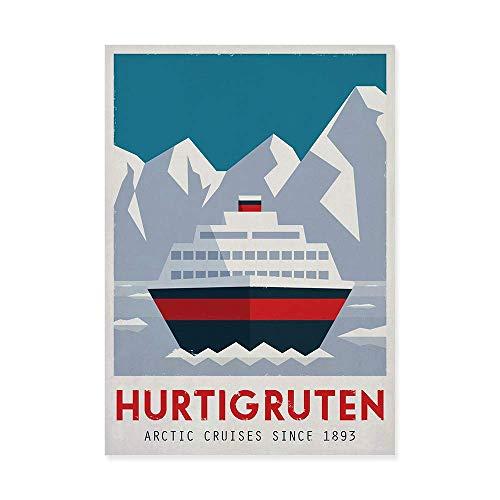 Travel Poster, Norwegen, Hurtigruten, Fähre, Berge, Reise, Skandinavien, Skandinavisches Dekor -
