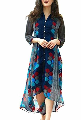 AttitudeFashion Women\'s Printed Dress MTKRT-1102_LAL, Blue_XL